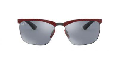 Ray Ban presenta un nuovo modello: il 8324M F0539Y red Ferrari Allutex on black con lenti Polar blu flash silver