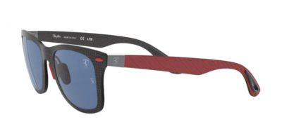 Occhiale da sole Ray-Ban 8395M F05580 Ferrari Matte Carbon on Allutex red e lenti dark blu