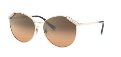 Occhiale da sole Tiffany & Co. 3073B 60213B Pale gold e lenti Brown gradient silver mirror Wheat Leaf.